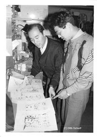 Yoshiyuki Tomino directing animation in the 1980s at Sunrise Inc